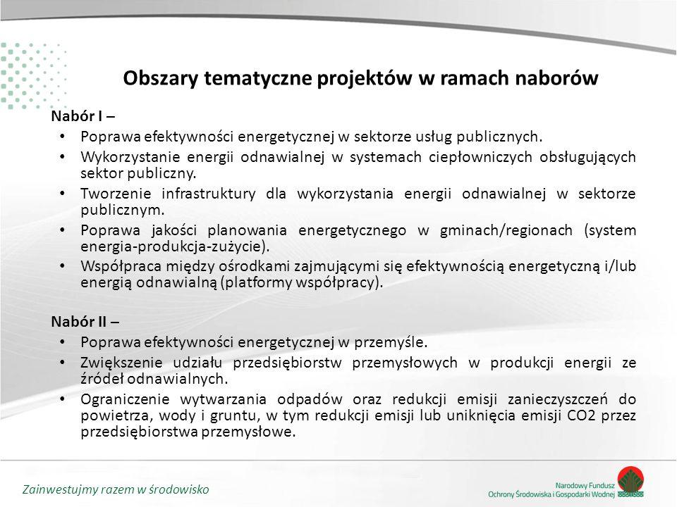 Zainwestujmy razem w środowisko Obszary tematyczne projektów w ramach naborów Nabór I – Poprawa efektywności energetycznej w sektorze usług publicznych.