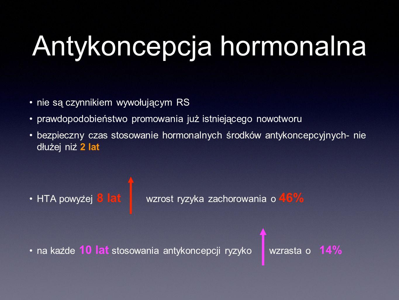 Antykoncepcja hormonalna nie są czynnikiem wywołującym RS prawdopodobieństwo promowania już istniejącego nowotworu bezpieczny czas stosowanie hormonalnych środków antykoncepcyjnych- nie dłużej niz ̇ 2 lat HTA powyz ̇ ej 8 lat wzrost ryzyka zachorowania o 46% na kaz ̇ de 10 lat stosowania antykoncepcji ryzyko wzrasta o 14%