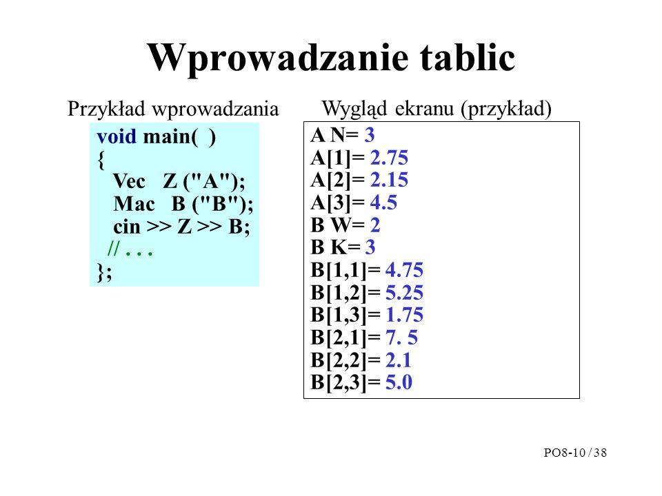 Wprowadzanie tablic A N= 3 A[1]= 2.75 A[2]= 2.15 A[3]= 4.5 B W= 2 B K= 3 B[1,1]= 4.75 B[1,2]= 5.25 B[1,3]= 1.75 B[2,1]= 7.