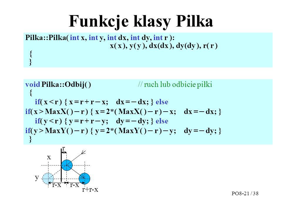 Funkcje klasy Pilka Pilka::Pilka( int x, int y, int dx, int dy, int r ): x( x ), y( y ), dx(dx ), dy(dy ), r( r ) { } void Pilka::Odbij( ) // ruch lub odbicie piłki { if( x < r ) { x = r + r  x; dx =  dx; } else if( x > MaxX( )  r ) { x = 2*( MaxX( )  r )  x; dx =  dx; } if( y < r ) { y = r + r  y; dy =  dy; } else if( y > MaxY( )  r ) { y = 2*( MaxY( )  r )  y; dy =  dy; } } PO8-21 / 38 r x r-x y r+r-x