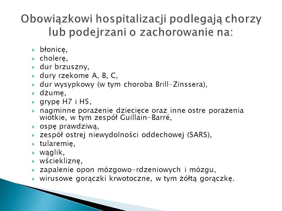  błonicę,  cholerę,  dur brzuszny,  dury rzekome A, B, C,  dur wysypkowy (w tym choroba Brill-Zinssera),  dżumę,  grypę H7 i H5,  nagminne por