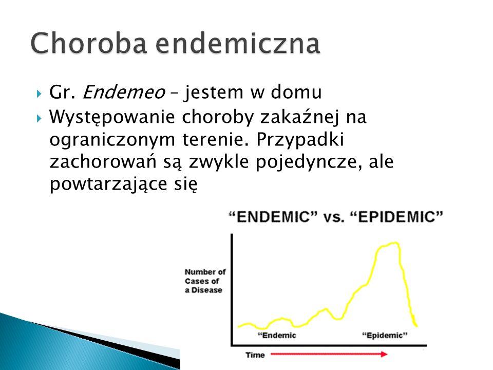  Gr. Endemeo – jestem w domu  Występowanie choroby zakaźnej na ograniczonym terenie. Przypadki zachorowań są zwykle pojedyncze, ale powtarzające się