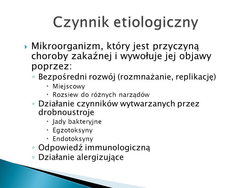  Mikroorganizm, który jest przyczyną choroby zakaźnej i wywołuje jej objawy poprzez: ◦ Bezpośredni rozwój (rozmnażanie, replikację)  Miejscowy  Roz