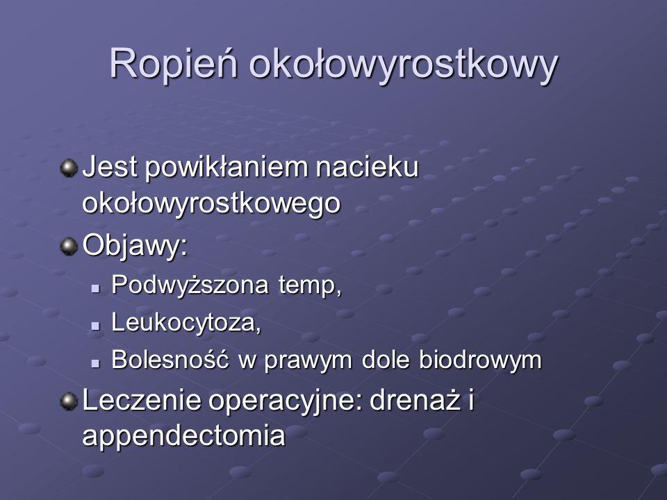 Ropień okołowyrostkowy Jest powikłaniem nacieku okołowyrostkowego Objawy: Podwyższona temp, Podwyższona temp, Leukocytoza, Leukocytoza, Bolesność w pr