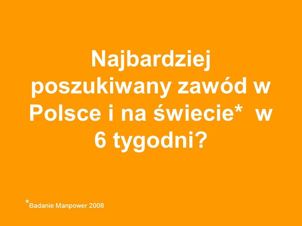 Najbardziej poszukiwany zawód w Polsce i na świecie* w 6 tygodni * Badanie Manpower 2008