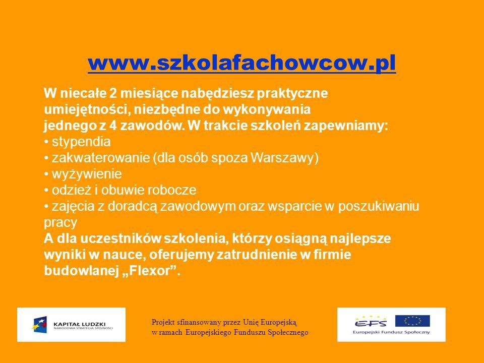www.szkolafachowcow.pl W niecałe 2 miesiące nabędziesz praktyczne umiejętności, niezbędne do wykonywania jednego z 4 zawodów.