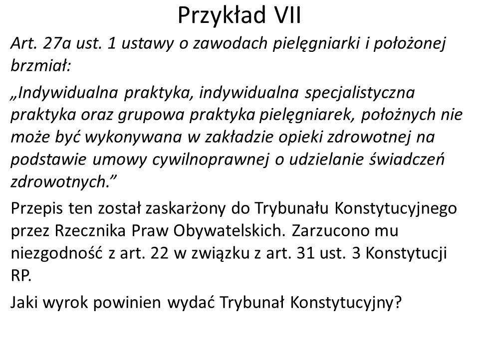 """Przykład VII Art. 27a ust. 1 ustawy o zawodach pielęgniarki i położonej brzmiał: """"Indywidualna praktyka, indywidualna specjalistyczna praktyka oraz gr"""