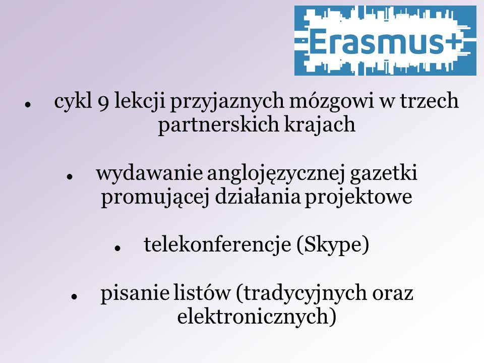 cykl 9 lekcji przyjaznych mózgowi w trzech partnerskich krajach wydawanie anglojęzycznej gazetki promującej działania projektowe telekonferencje (Skype) pisanie listów (tradycyjnych oraz elektronicznych)