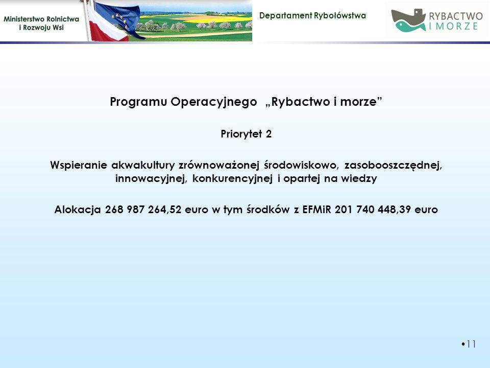 """Departament Rybołówstwa Programu Operacyjnego """"Rybactwo i morze Priorytet 2 Wspieranie akwakultury zrównoważonej środowiskowo, zasobooszczędnej, innowacyjnej, konkurencyjnej i opartej na wiedzy Alokacja 268 987 264,52 euro w tym środków z EFMiR 201 740 448,39 euro 11"""