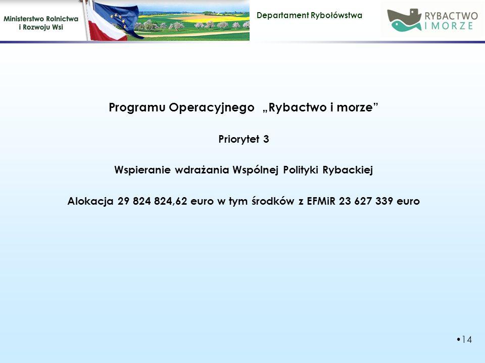"""Departament Rybołówstwa Programu Operacyjnego """"Rybactwo i morze Priorytet 3 Wspieranie wdrażania Wspólnej Polityki Rybackiej Alokacja 29 824 824,62 euro w tym środków z EFMiR 23 627 339 euro 14"""