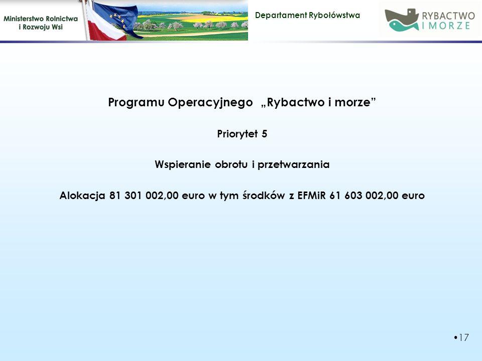 """Departament Rybołówstwa Programu Operacyjnego """"Rybactwo i morze Priorytet 5 Wspieranie obrotu i przetwarzania Alokacja 81 301 002,00 euro w tym środków z EFMiR 61 603 002,00 euro 17"""