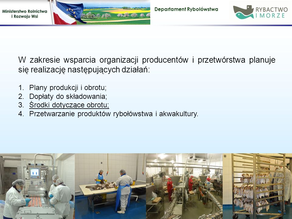 Departament Rybołówstwa W zakresie wsparcia organizacji producentów i przetwórstwa planuje się realizację następujących działań: 1.Plany produkcji i obrotu; 2.Dopłaty do składowania; 3.Środki dotyczące obrotu; 4.Przetwarzanie produktów rybołówstwa i akwakultury.
