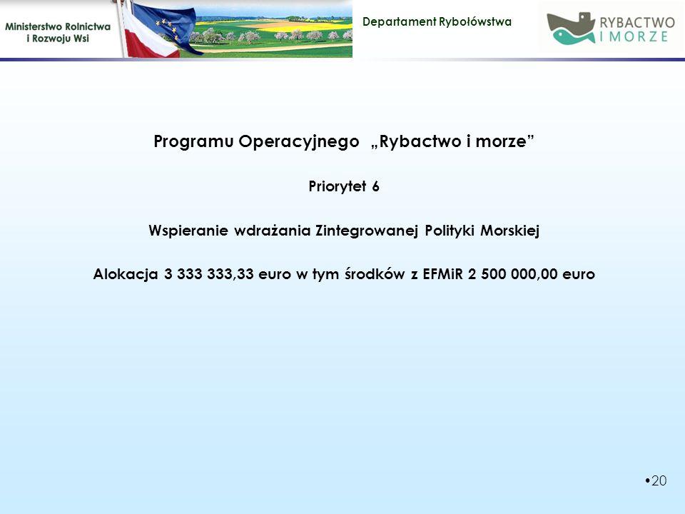 """Departament Rybołówstwa Programu Operacyjnego """"Rybactwo i morze Priorytet 6 Wspieranie wdrażania Zintegrowanej Polityki Morskiej Alokacja 3 333 333,33 euro w tym środków z EFMiR 2 500 000,00 euro 20"""