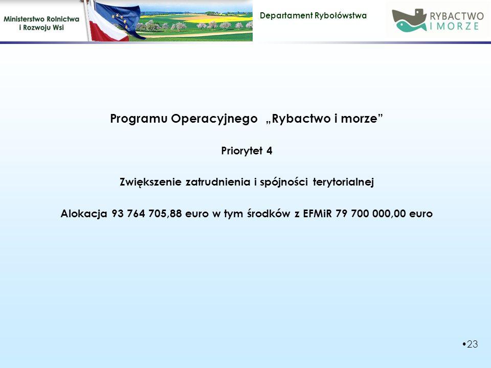"""Departament Rybołówstwa Programu Operacyjnego """"Rybactwo i morze Priorytet 4 Zwiększenie zatrudnienia i spójności terytorialnej Alokacja 93 764 705,88 euro w tym środków z EFMiR 79 700 000,00 euro 23"""