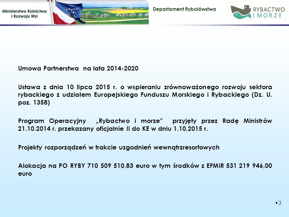 Departament Rybołówstwa Alokacja wkład unijny wkład krajowy ogółem ok 531 mln € ok.