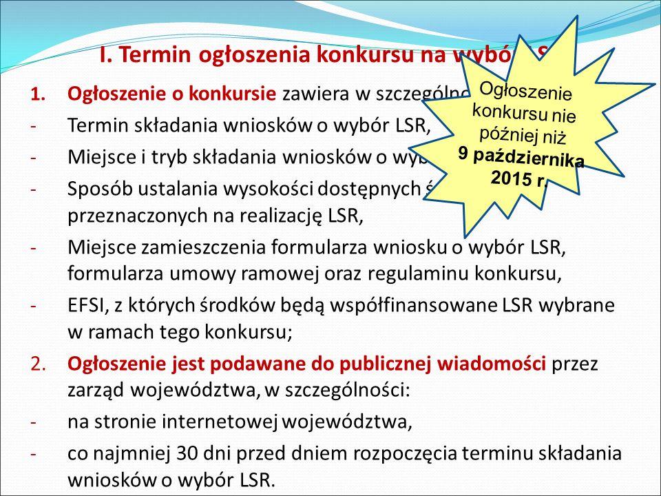 I.Termin ogłoszenia konkursu na wybór LSR 1.