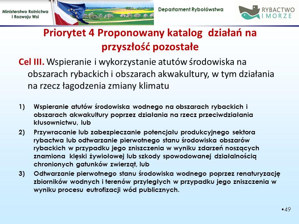 Departament Rybołówstwa Priorytet 4 Proponowany katalog działań na przyszłość pozostałe Cel III.