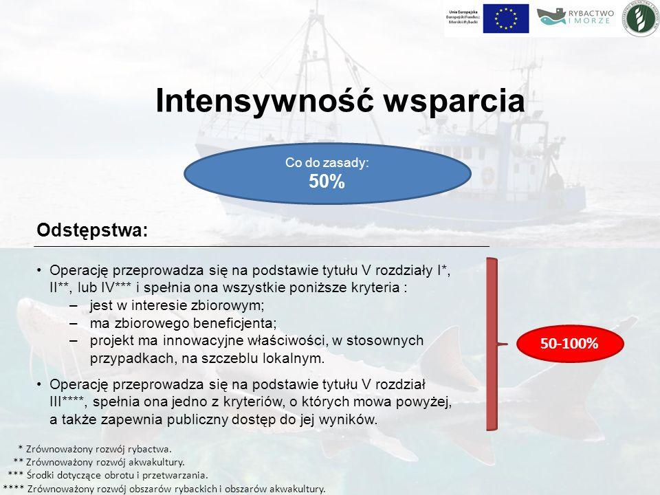 Intensywność wsparcia Co do zasady: 50% Operacje realizowane w ramach art.