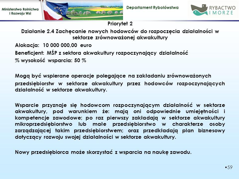 Departament Rybołówstwa Priorytet 2 Działanie 2.4 Zachęcanie nowych hodowców do rozpoczęcia działalności w sektorze zrównoważonej akwakultury Alokacja: 10 000 000,00 euro Beneficjent: MŚP z sektora akwakultury rozpoczynający działalność % wysokość wsparcia: 50 % Mogą być wspierane operacje polegające na zakładaniu zrównoważonych przedsiębiorstw w sektorze akwakultury przez hodowców rozpoczynających działalność w sektorze akwakultury.