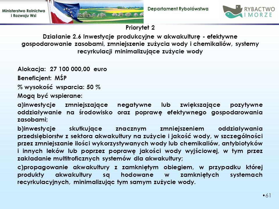 Departament Rybołówstwa Priorytet 2 Działanie 2.6 Inwestycje produkcyjne w akwakulturę - efektywne gospodarowanie zasobami, zmniejszenie zużycia wody i chemikaliów, systemy recyrkulacji minimalizujące zużycie wody Alokacja: 27 100 000,00 euro Beneficjent: MŚP % wysokość wsparcia: 50 % Mogą być wspierane: a)inwestycje zmniejszające negatywne lub zwiększające pozytywne oddziaływanie na środowisko oraz poprawę efektywnego gospodarowania zasobami; b)inwestycje skutkujące znacznym zmniejszeniem oddziaływania przedsiębiorstw z sektora akwakultury na zużycie i jakość wody, w szczególności przez zmniejszanie ilości wykorzystywanych wody lub chemikaliów, antybiotyków i innych leków lub poprzez poprawę jakości wody wyjściowej, w tym przez zakładanie multitroficznych systemów dla akwakultury; c)propagowanie akwakultury z zamkniętym obiegiem, w przypadku której produkty akwakultury są hodowane w zamkniętych systemach recyrkulacyjnych, minimalizując tym samym zużycie wody.