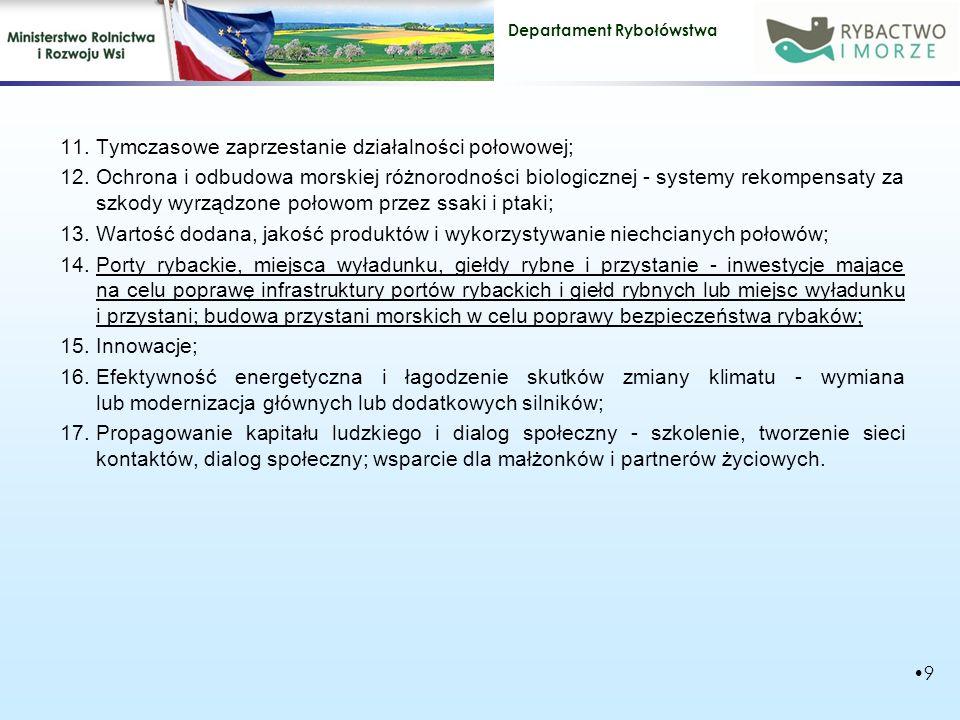 Departament Rybołówstwa 11.Tymczasowe zaprzestanie działalności połowowej; 12.Ochrona i odbudowa morskiej różnorodności biologicznej - systemy rekompensaty za szkody wyrządzone połowom przez ssaki i ptaki; 13.Wartość dodana, jakość produktów i wykorzystywanie niechcianych połowów; 14.Porty rybackie, miejsca wyładunku, giełdy rybne i przystanie - inwestycje mające na celu poprawę infrastruktury portów rybackich i giełd rybnych lub miejsc wyładunku i przystani; budowa przystani morskich w celu poprawy bezpieczeństwa rybaków; 15.Innowacje; 16.Efektywność energetyczna i łagodzenie skutków zmiany klimatu - wymiana lub modernizacja głównych lub dodatkowych silników; 17.Propagowanie kapitału ludzkiego i dialog społeczny - szkolenie, tworzenie sieci kontaktów, dialog społeczny; wsparcie dla małżonków i partnerów życiowych.