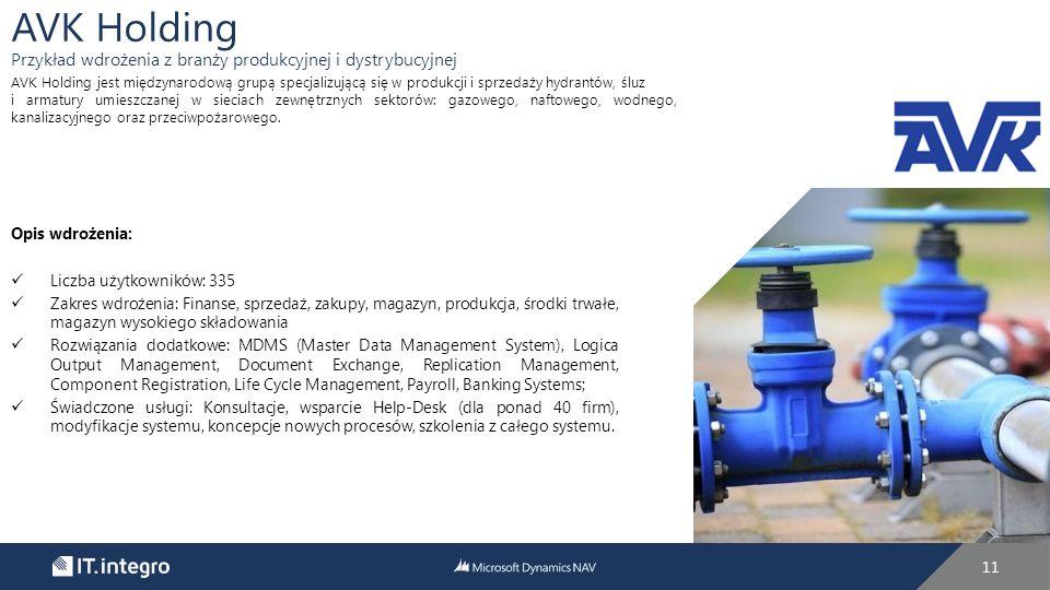 11 Opis wdrożenia: Liczba użytkowników: 335 Zakres wdrożenia: Finanse, sprzedaż, zakupy, magazyn, produkcja, środki trwałe, magazyn wysokiego składowania Rozwiązania dodatkowe: MDMS (Master Data Management System), Logica Output Management, Document Exchange, Replication Management, Component Registration, Life Cycle Management, Payroll, Banking Systems; Świadczone usługi: Konsultacje, wsparcie Help-Desk (dla ponad 40 firm), modyfikacje systemu, koncepcje nowych procesów, szkolenia z całego systemu.