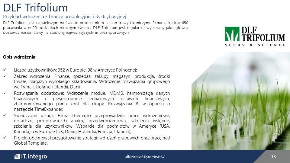 13 Opis wdrożenia: Liczba użytkowników: 352 w Europie, 98 w Ameryce Północnej; Zakres wdrożenia: Finanse, sprzedaż, zakupy, magazyn, produkcja, środki trwałe, magazyn wysokiego składowania.