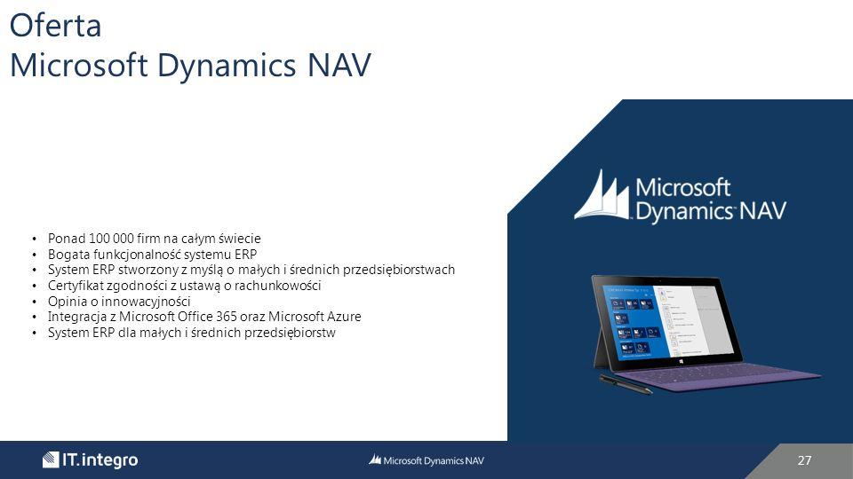 27 Oferta Microsoft Dynamics NAV Ponad 100 000 firm na całym świecie Bogata funkcjonalność systemu ERP System ERP stworzony z myślą o małych i średnich przedsiębiorstwach Certyfikat zgodności z ustawą o rachunkowości Opinia o innowacyjności Integracja z Microsoft Office 365 oraz Microsoft Azure System ERP dla małych i średnich przedsiębiorstw