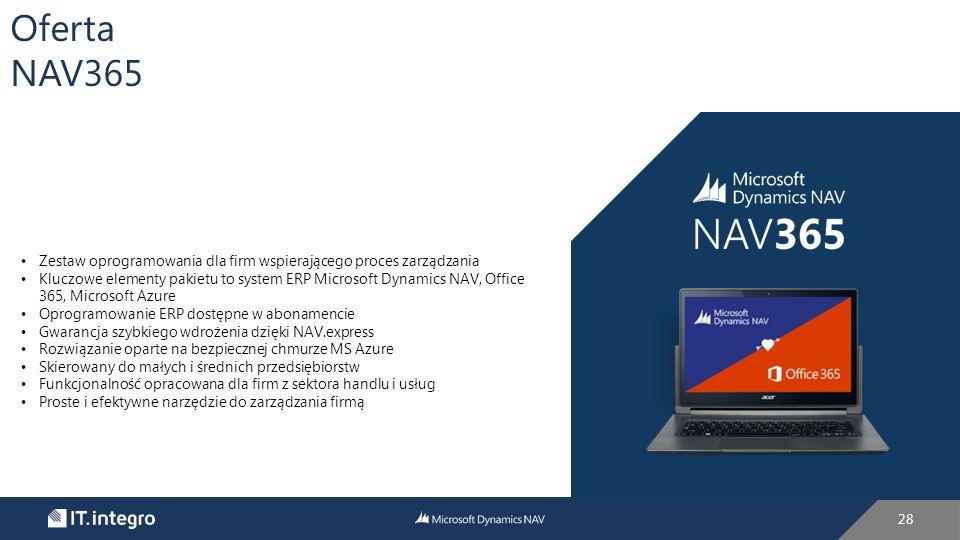 28 Oferta NAV365 Zestaw oprogramowania dla firm wspierającego proces zarządzania Kluczowe elementy pakietu to system ERP Microsoft Dynamics NAV, Office 365, Microsoft Azure Oprogramowanie ERP dostępne w abonamencie Gwarancja szybkiego wdrożenia dzięki NAV.express Rozwiązanie oparte na bezpiecznej chmurze MS Azure Skierowany do małych i średnich przedsiębiorstw Funkcjonalność opracowana dla firm z sektora handlu i usług Proste i efektywne narzędzie do zarządzania firmą