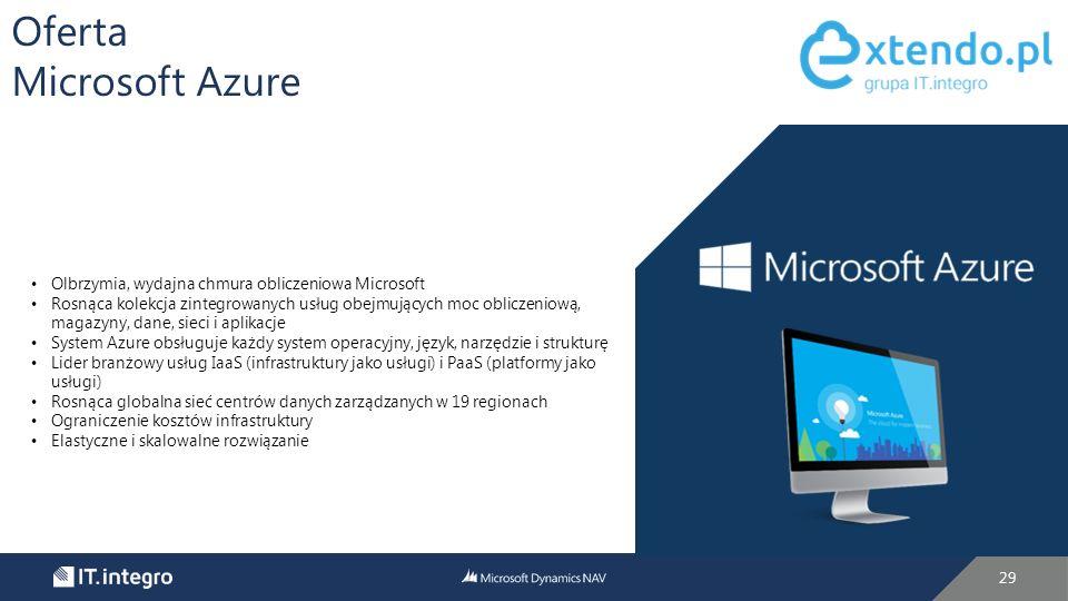 29 Oferta Microsoft Azure Olbrzymia, wydajna chmura obliczeniowa Microsoft Rosnąca kolekcja zintegrowanych usług obejmujących moc obliczeniową, magazyny, dane, sieci i aplikacje System Azure obsługuje każdy system operacyjny, język, narzędzie i strukturę Lider branżowy usług IaaS (infrastruktury jako usługi) i PaaS (platformy jako usługi) Rosnąca globalna sieć centrów danych zarządzanych w 19 regionach Ograniczenie kosztów infrastruktury Elastyczne i skalowalne rozwiązanie