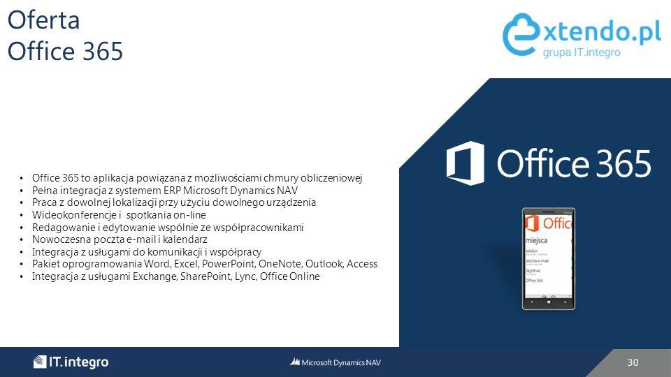 30 Oferta Office 365 Office 365 to aplikacja powiązana z możliwościami chmury obliczeniowej Pełna integracja z systemem ERP Microsoft Dynamics NAV Praca z dowolnej lokalizacji przy użyciu dowolnego urządzenia Wideokonferencje i spotkania on-line Redagowanie i edytowanie wspólnie ze współpracownikami Nowoczesna poczta e-mail i kalendarz Integracja z usługami do komunikacji i współpracy Pakiet oprogramowania Word, Excel, PowerPoint, OneNote, Outlook, Access Integracja z usługami Exchange, SharePoint, Lync, Office Online