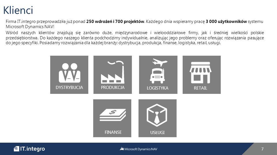 7 DYSTRYBUCJA PRODUKCJA LOGISTYKA RETAIL FINANSE USŁUGI Firma IT.integro przeprowadziła już ponad 250 wdrożeń i 700 projektów.