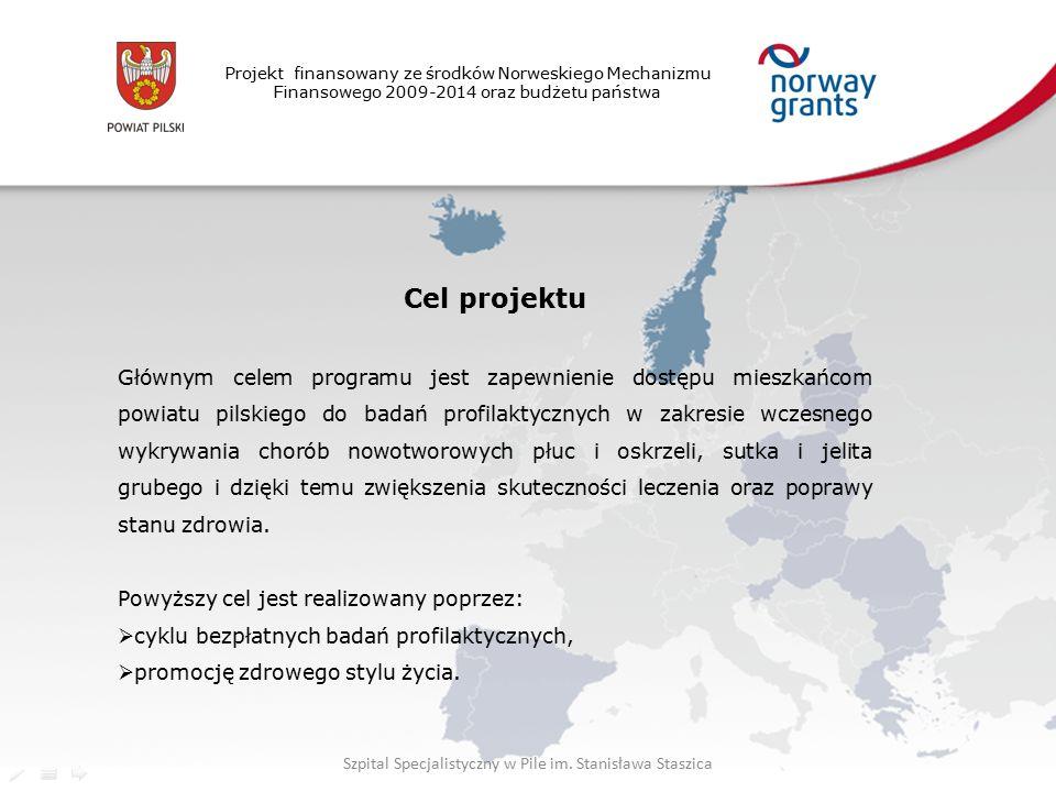 Projekt finansowany ze środków Norweskiego Mechanizmu Finansowego 2009-2014 oraz budżetu państwa Cel projektu Głównym celem programu jest zapewnienie dostępu mieszkańcom powiatu pilskiego do badań profilaktycznych w zakresie wczesnego wykrywania chorób nowotworowych płuc i oskrzeli, sutka i jelita grubego i dzięki temu zwiększenia skuteczności leczenia oraz poprawy stanu zdrowia.