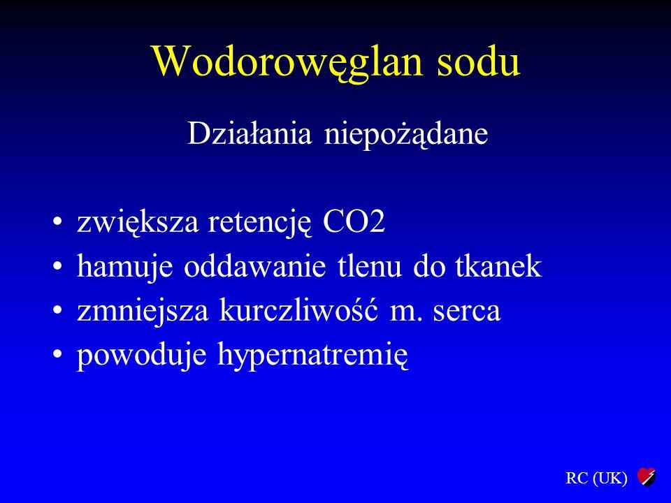 RC (UK) Wodorowęglan sodu Działania niepożądane zwiększa retencję CO2 hamuje oddawanie tlenu do tkanek zmniejsza kurczliwość m. serca powoduje hyperna