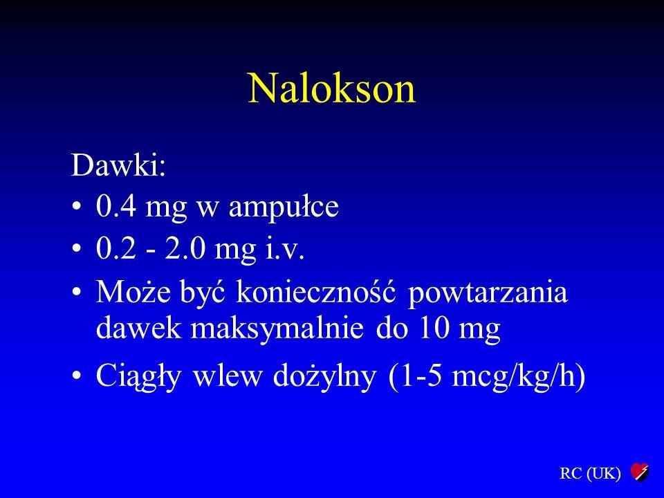 RC (UK) Nalokson Dawki: 0.4 mg w ampułce 0.2 - 2.0 mg i.v. Może być konieczność powtarzania dawek maksymalnie do 10 mg Ciągły wlew dożylny (1-5 mcg/kg