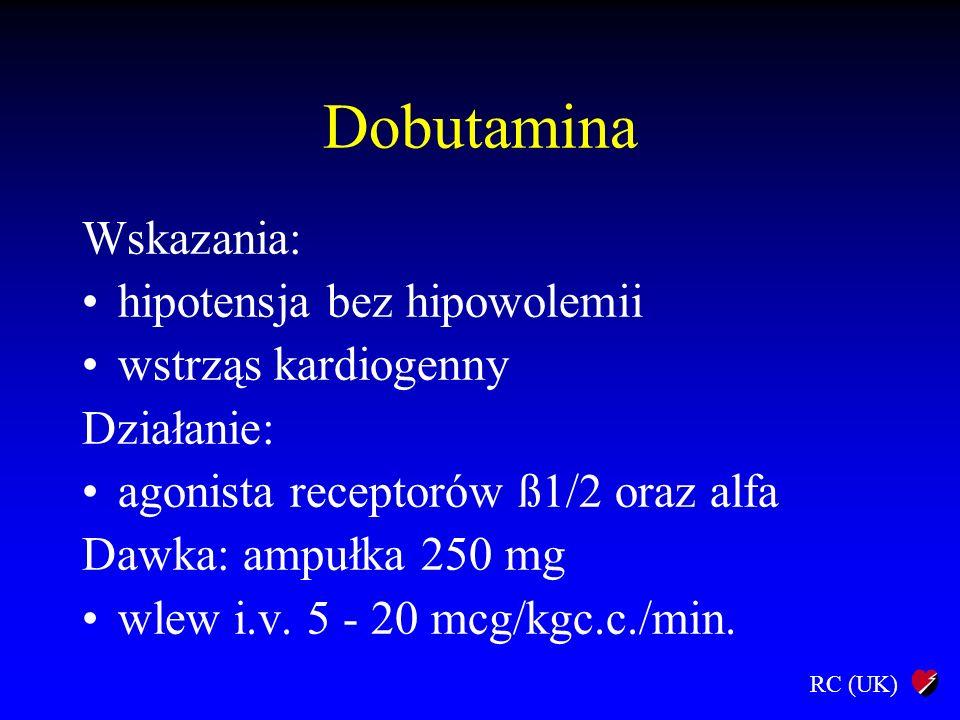 RC (UK) Dobutamina Wskazania: hipotensja bez hipowolemii wstrząs kardiogenny Działanie: agonista receptorów ß1/2 oraz alfa Dawka: ampułka 250 mg wlew