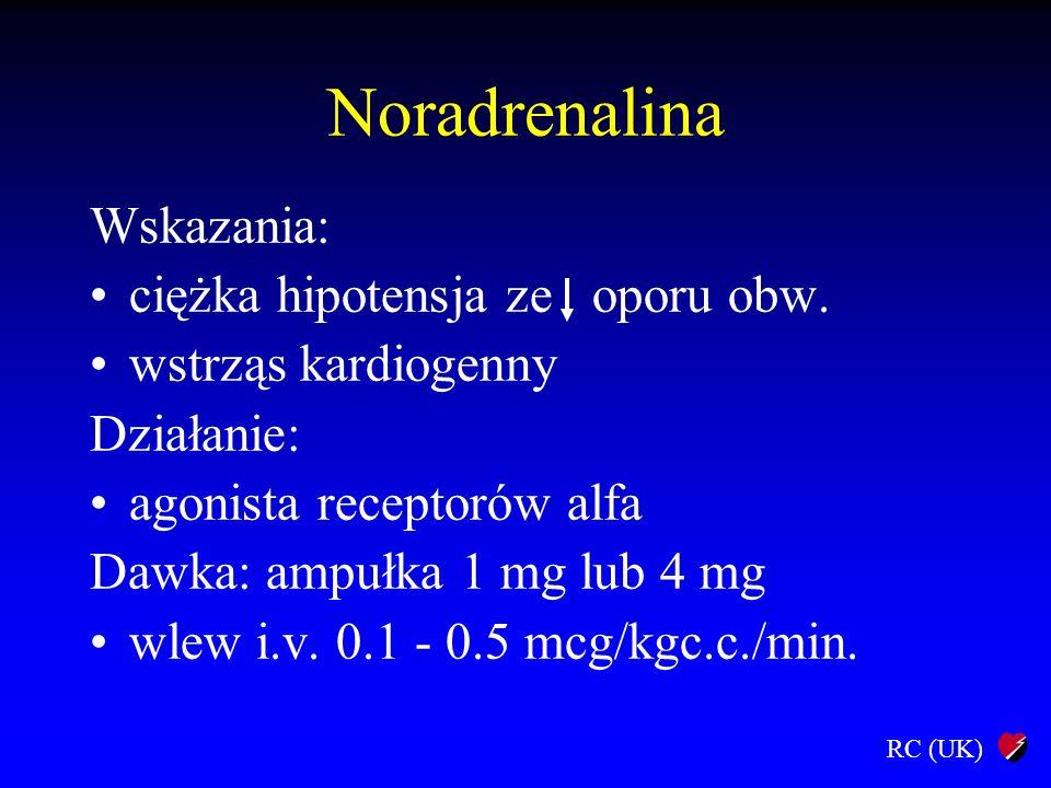 RC (UK) Noradrenalina Wskazania: ciężka hipotensja ze oporu obw. wstrząs kardiogenny Działanie: agonista receptorów alfa Dawka: ampułka 1 mg lub 4 mg