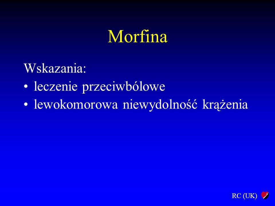 RC (UK) Morfina Wskazania: leczenie przeciwbólowe lewokomorowa niewydolność krążenia