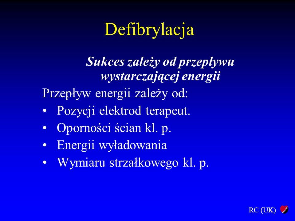 RC (UK) Defibrylacja Sukces zależy od przepływu wystarczającej energii Przepływ energii zależy od: Pozycji elektrod terapeut. Oporności ścian kl. p. E