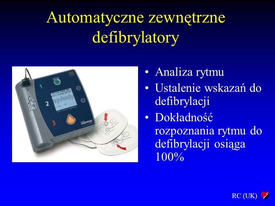 RC (UK) Automatyczne zewnętrzne defibrylatory Analiza rytmu Ustalenie wskazań do defibrylacji Dokładność rozpoznania rytmu do defibrylacji osiąga 100%