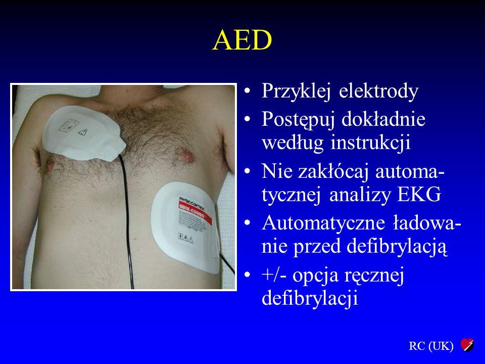 RC (UK) AED Przyklej elektrody Postępuj dokładnie według instrukcji Nie zakłócaj automa- tycznej analizy EKG Automatyczne ładowa- nie przed defibrylac