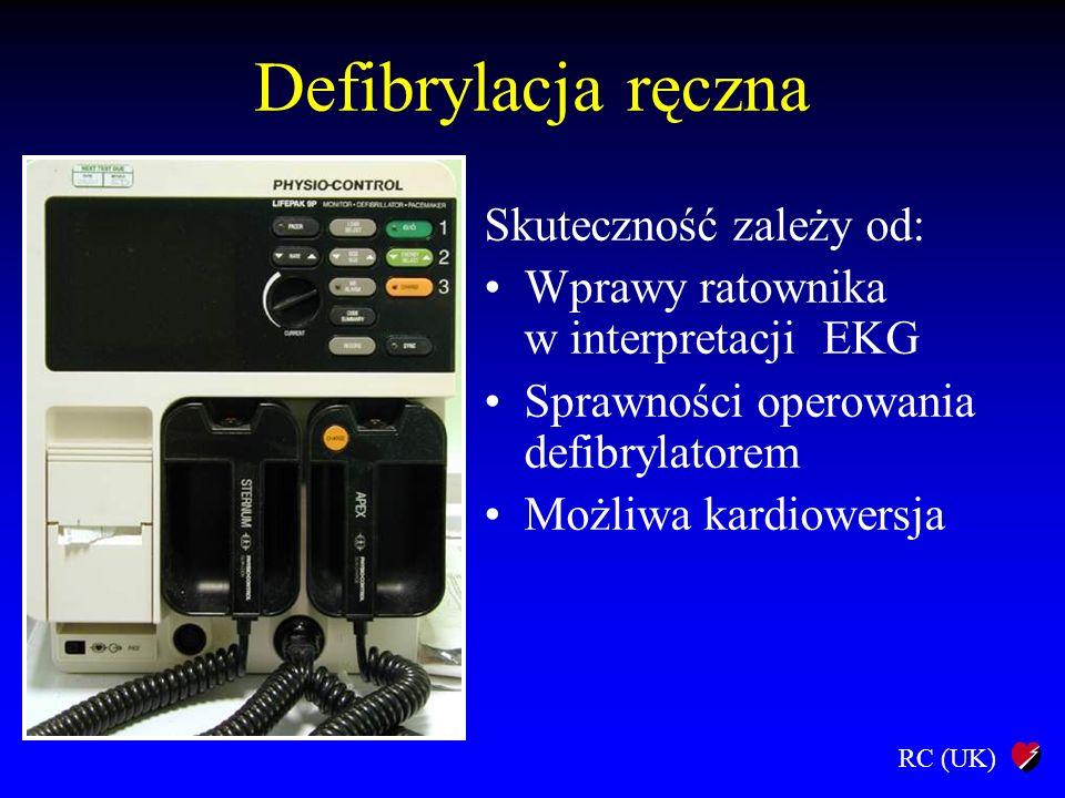 RC (UK) Defibrylacja ręczna Skuteczność zależy od: Wprawy ratownika w interpretacji EKG Sprawności operowania defibrylatorem Możliwa kardiowersja