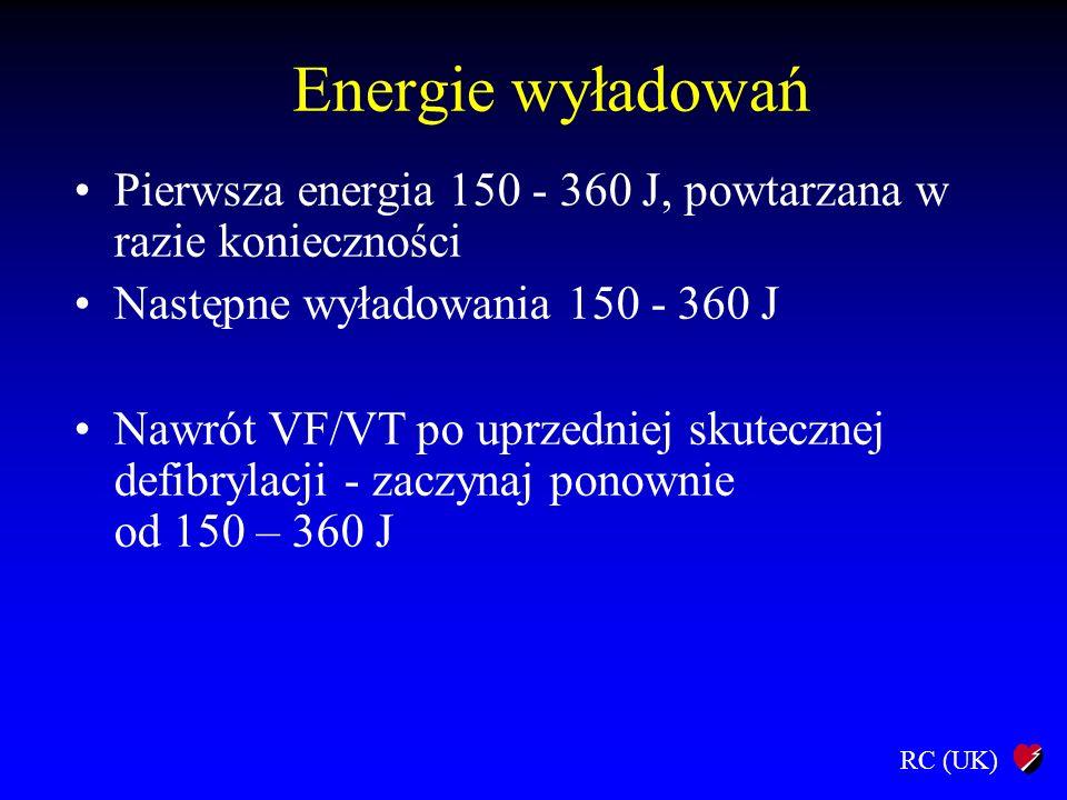 RC (UK) Energie wyładowań Pierwsza energia 150 - 360 J, powtarzana w razie konieczności Następne wyładowania 150 - 360 J Nawrót VF/VT po uprzedniej sk