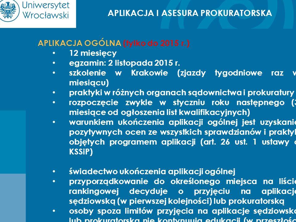 APLIKACJA I ASESURA PROKURATORSKA APLIKACJA OGÓLNA (tylko do 2015 r.) 12 miesięcy egzamin: 2 listopada 2015 r. szkolenie w Krakowie (zjazdy tygodniowe