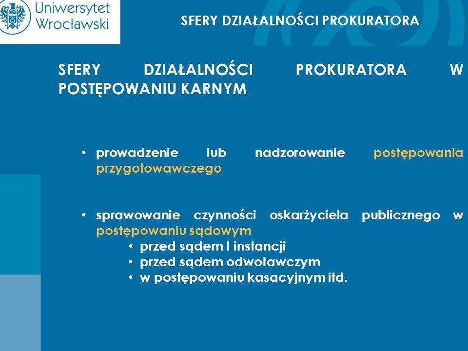 SFERY DZIAŁALNOŚCI PROKURATORA SFERY DZIAŁALNOŚCI PROKURATORA W POSTĘPOWANIU KARNYM prowadzenie lub nadzorowanie postępowania przygotowawczego sprawow