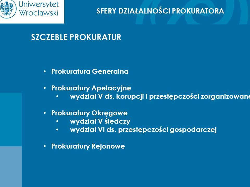 SFERY DZIAŁALNOŚCI PROKURATORA SZCZEBLE PROKURATUR Prokuratura Generalna Prokuratury Apelacyjne wydział V ds. korupcji i przestępczości zorganizowanej