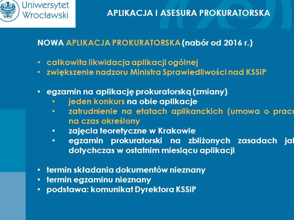 APLIKACJA I ASESURA PROKURATORSKA NOWA APLIKACJA PROKURATORSKA (nabór od 2016 r.) całkowita likwidacja aplikacji ogólnej zwiększenie nadzoru Ministra