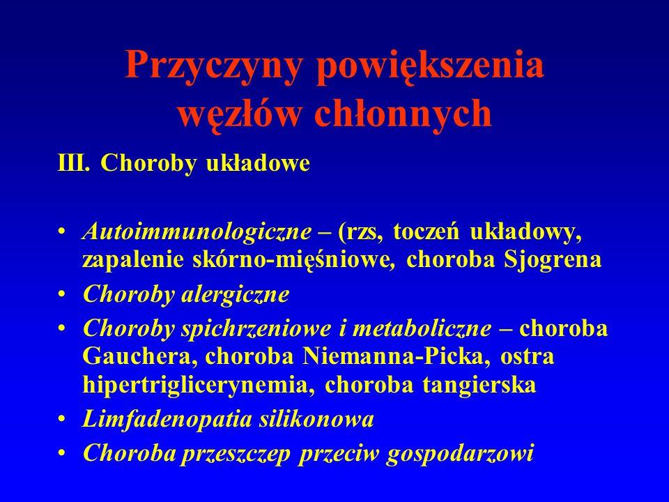 III. Choroby układowe Autoimmunologiczne – (rzs, toczeń układowy, zapalenie skórno-mięśniowe, choroba Sjogrena Choroby alergiczne Choroby spichrzeniow