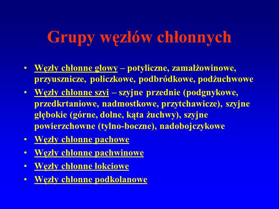 Grupy węzłów chłonnych Węzły chłonne głowy – potyliczne, zamałżowinowe, przyusznicze, policzkowe, podbródkowe, podżuchwowe Węzły chłonne szyi – szyjne przednie (podgnykowe, przedkrtaniowe, nadmostkowe, przytchawicze), szyjne głębokie (górne, dolne, kąta żuchwy), szyjne powierzchowne (tylno-boczne), nadobojczykowe Węzły chłonne pachowe Węzły chłonne pachwinowe Węzły chłonne łokciowe Węzły chłonne podkolanowe
