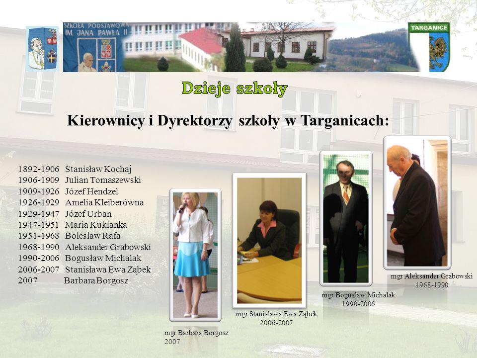 1892-1906 Stanisław Kochaj 1906-1909 Julian Tomaszewski 1909-1926 Józef Hendzel 1926-1929 Amelia Kleiberówna 1929-1947 Józef Urban 1947-1951 Maria Kuk